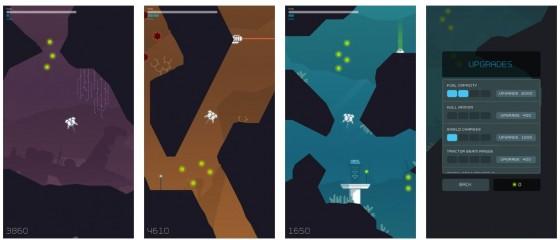 In Cavernaut steuerst Du Dein Raumschiff mit einem Finger und der Neigung des Gerätes. Das ist nicht so einfach, denn wenn das Raumschiff die Wände berührt oder vom Laser erwischt wird, hat man verloren. Die Grafik nennt der Entwickler neo-retro, sie ist einfach und klar.