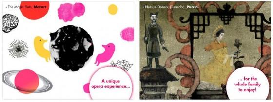 Links die Gestaltung zur Zauberflöte, rechts die zu Turandot. Gerade die rechte Gestaltung finde ich nicht so richtig kindergerecht...