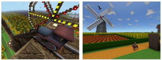Die Welten, die die Spieler mit Block Earth erschaffen, sind sehr unterschiedlich. Man kann selbst etwas bauen, oder sich bei anderen umsehen. Interessanter wird es, wenn Interaktion möglich wird - also gemeinsam bauen oder bewegliche Elemente in anderen Welten finden und nutzen.