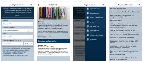 Keine Überraschungen beim Kauf in internationalen Online-Shops: Mit Zoll und Post bekommt man viele Infos und eine Berechnung der bei Einfuhr von Produkten aus nicht EU-Ländern zu leistenden Abgaben.