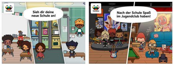 Es gibt viel zu Erkunden in der App Toca Life: School. Zahlreiche Animationen und Spielmöglichkeiten können von den Kindern entdeckt und genutzt werden.