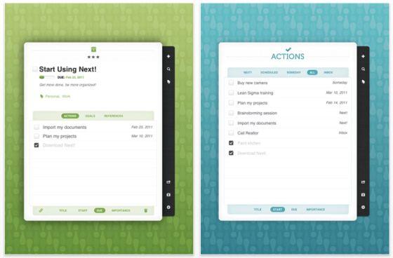 Next! Aufgabenverwaltung für iPad Screenshots