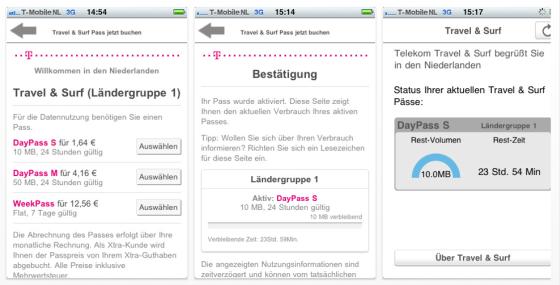 Travel & Surf Screenshots der Telekom-App für das iPhone zum Internetzugang im Ausland