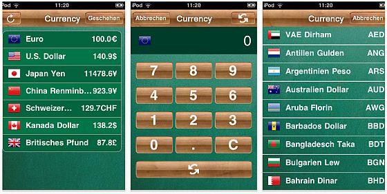 Währungsrechner für iPhone und iPod Touch - Screenshots