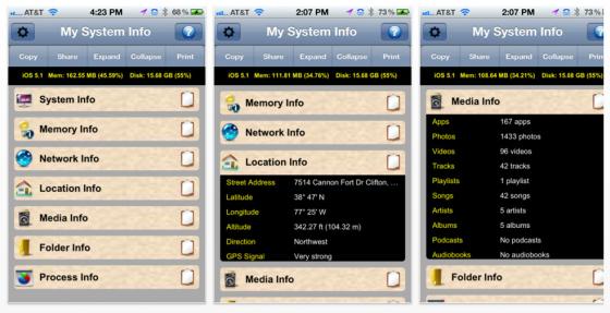 iMySystem - Alle Infos des iPhone oder IPad auf einen Blick - Screeenshots