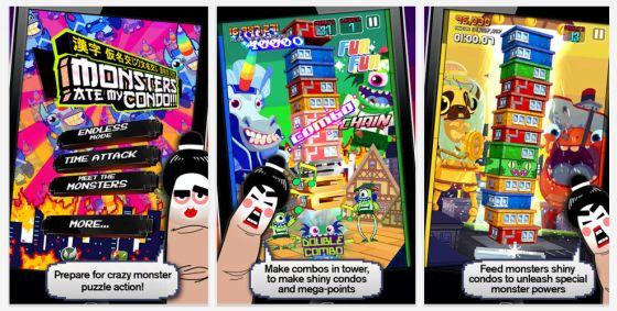 Monster ate my Condo Screenshots der Universal-App für iphone und iPad