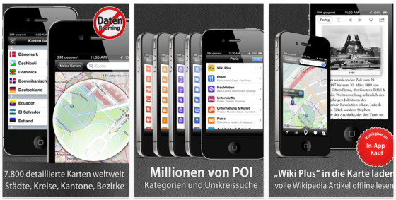 City Maps 2go Screenshots der Offline-Karten App für iPhone und iPad