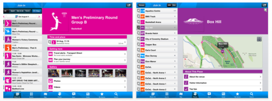 London 2012 Besucher App Screenshots der iPad Darstellung