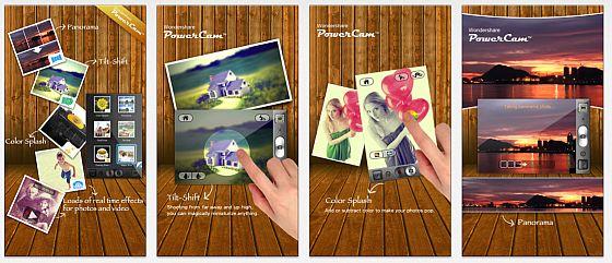 Die heute kostenlose App PowerCam bietet ganz einfach anwendbare Effekte und Filter, die man bereits schon beim Aufnehmen in der Vorschau sieht. Doch das ist noch nicht alles: Sie bietet auch Tilt-Shift für den Miniatur-Effekt und Color Splash für den Farbkleks in der Schwarzweiß-Aufnahme.