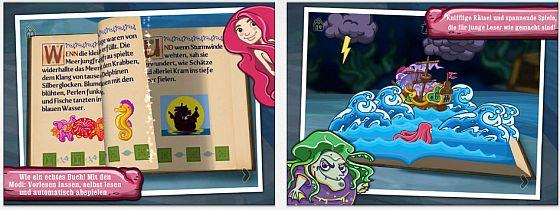 Das Buch Die Kleine Meerjungfrau für iPhone und iPad bietet drei Lesemodi: Vorlesen lassen, selbst lesen und automatisch abspielen. Dazu gibt es einfache aber nett animierte Spiele für die Kleinen.