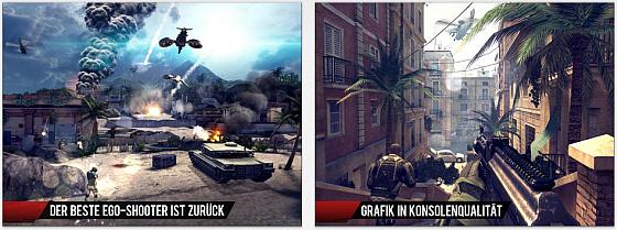 Hervorragende Grafik, sehr abwechslungsreiche Missionen und eine intensive Spielerfahrung bietet Modern Combat 4: Zero Hour.
