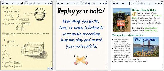 Notability (hier die Screenshots vom iPad) ist eine sehr vielfältig einsetzbare Notizbuch-App für den Alltag, die Dir viele Funktionen bietet.