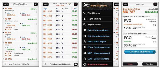 Übersichtlich gestaltet hat man mit World Flight Pro alle weltweiten Flugdaten in Echtzeit auf dem iPhone.