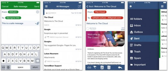 My Mynigma hast Du Deine Emailkonten auf dem iPhone und iPad und kannst ordentlich verschlüsselte Mails an andere Anwender der App senden.