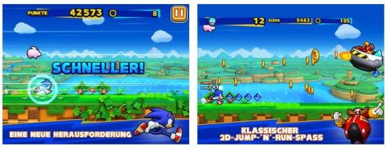 Sonic Runners bringt das klassische Sonic Feeling, ist aber etwas mit Aktionen überladen.