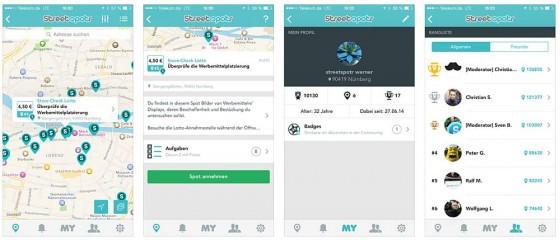 Grafischer Aufbau einer Mikrojob-App am Beispiel von Streetspotr. Auf der Karte werden die verfügbaren Jobs mit einer Stecknadel gezeigt. Tippt man auf den Kurztext, kommt man auf die Detailseite des jeweiligen Mikrojobs und kann den Job annehmen, wodurch er für andere Nutzer gesperrt wird.