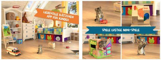 Mit der App Kleines Kätzchen können Eure Kinder sieben Minispiele mit einem süßen Kätzchen spielen. Sie werden die App lieben, da bin ich mir sicher.